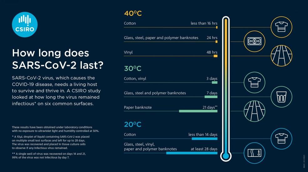 Quanto tempo o SARS-CoV-2 dura em superfícies diferentes? — Foto: CSIRO