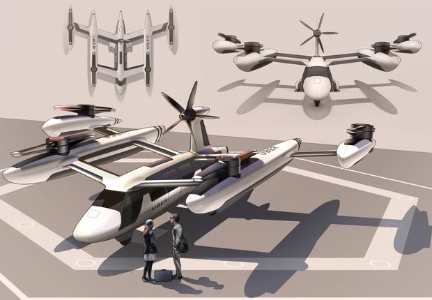 Esboço do Uber Air, drone para transporte de passageiros em desenvolvimento pela Embraer (Foto: Divulgação)