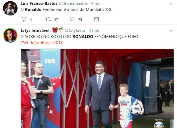 Presença de Ronaldo na abertura da Copa 2018 movimenta redes sociais (Foto: Reprodução/Twitter)