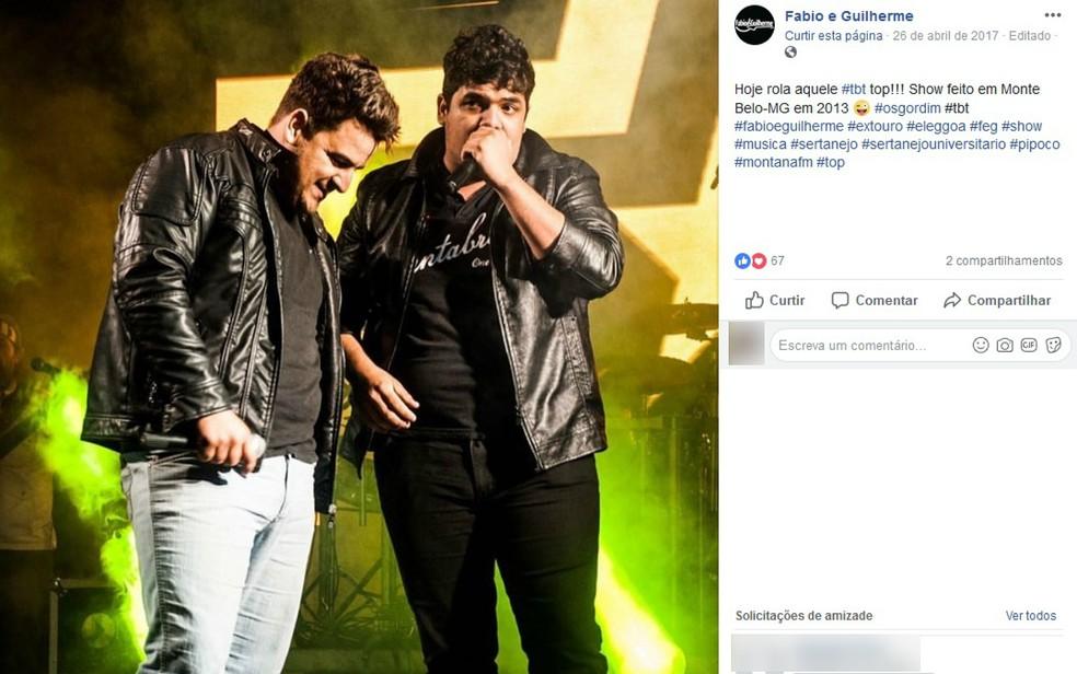 Publicação da dupla sertaneja Fábio & Guilherme, de Passos (MG) — Foto: Reprodução/Facebook