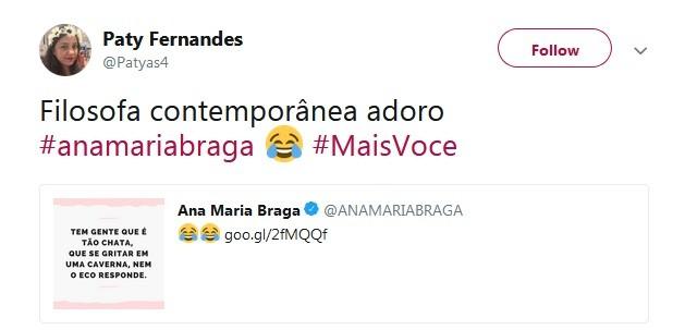 Louro José caiu na gargalhada com reflexã do dia de Ana Maria Braga sobre pessoas chatas (Foto: Reprodução / Twitter)
