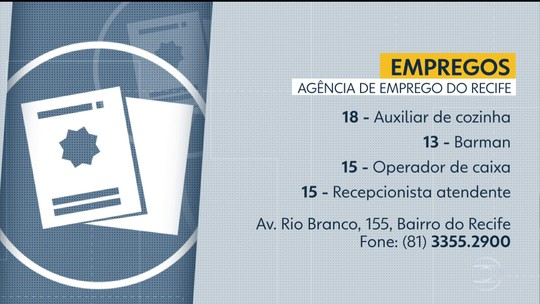 Oito cidades no Grande Recife e na Zona da Mata oferecem 106 vagas de emprego