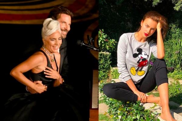 Lady Gaga e Bradley Cooper no Oscar 2019 e a modelo Irina Shayk, namorada do ator e mãe da filha dele (Foto: Instagram)