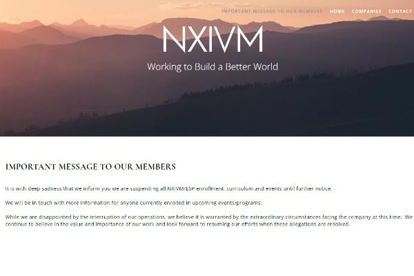 Mensagem publicada no site do Nxivm  (Foto: Reprodução )