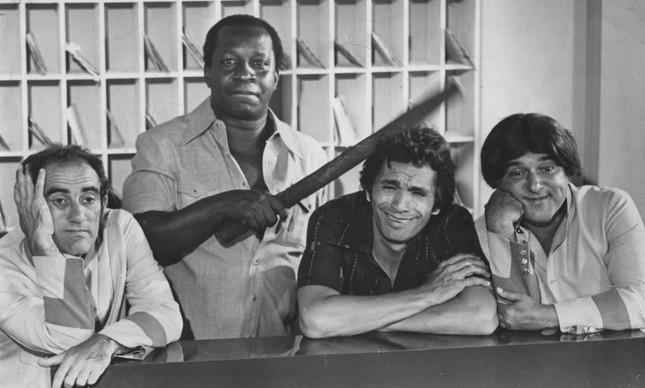 Os Trapalhões Renato Aragão, Mussum, Dedé Santana e Zacarias, em 4 de outubro de 1979