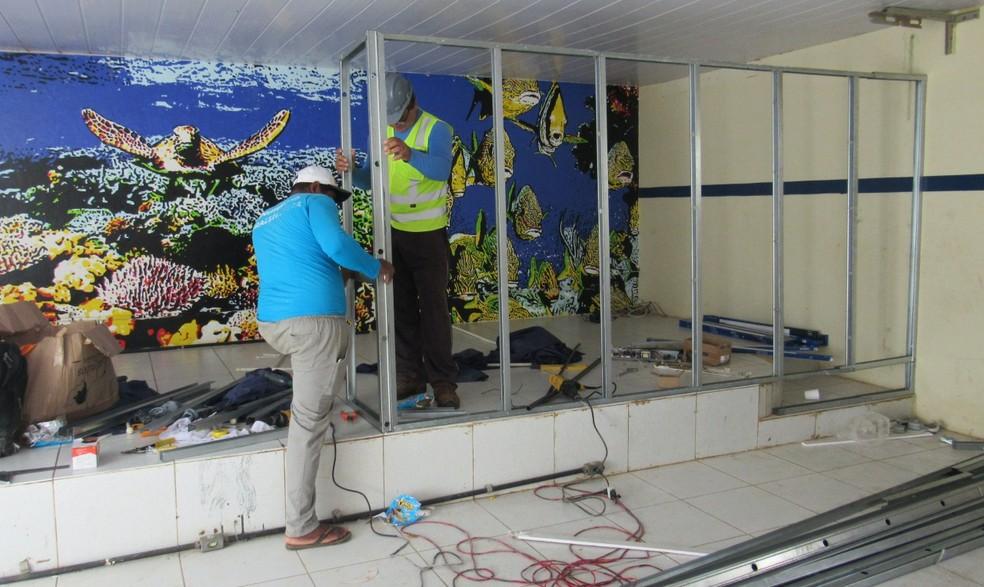 O hospital de campanha está sendo instalado na Escola Arquipélago — Foto: Ana Clara Marinho/TV Globo