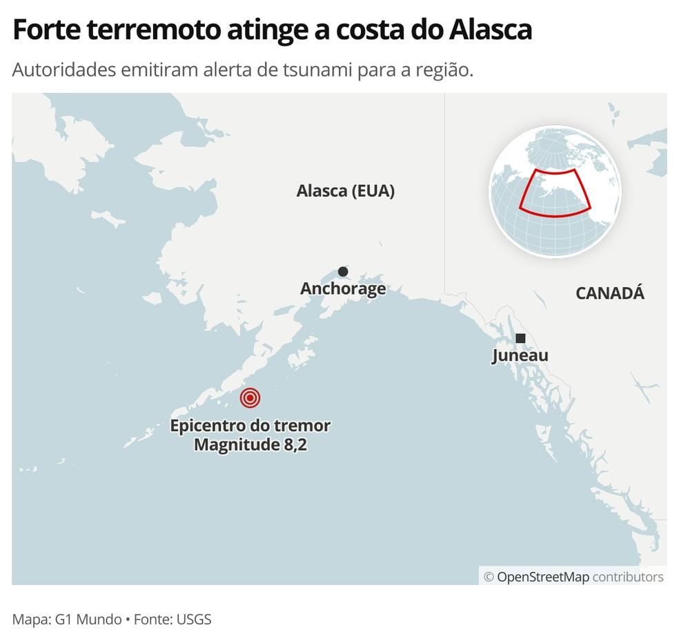 Terremoto no Alasca - MAPA — Foto: G1 Mundo