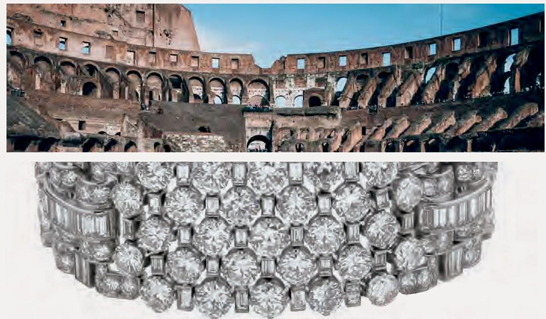 Preciosidades da capital italiana estão também nas coleções da marca, como as formas do Coliseu que inspiram a alta joalheria  (Foto: Divulgação)