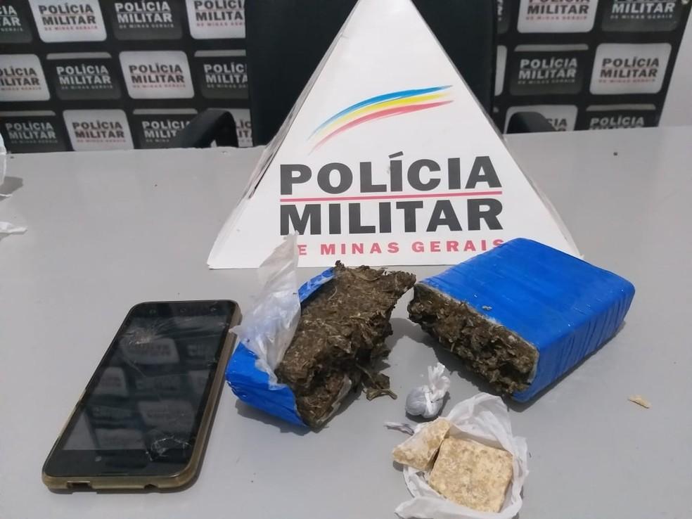 Material apreendido com suspeito em Cuparaque — Foto: Polícia Militar/Divulgação