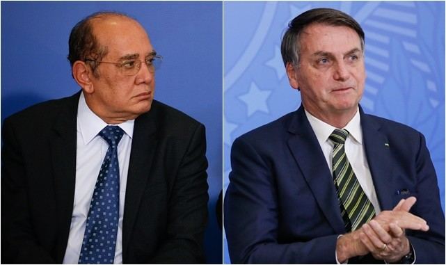 Gilmar Mendes, ministro do STF, e Jair Bolsonaro, presidente da República
