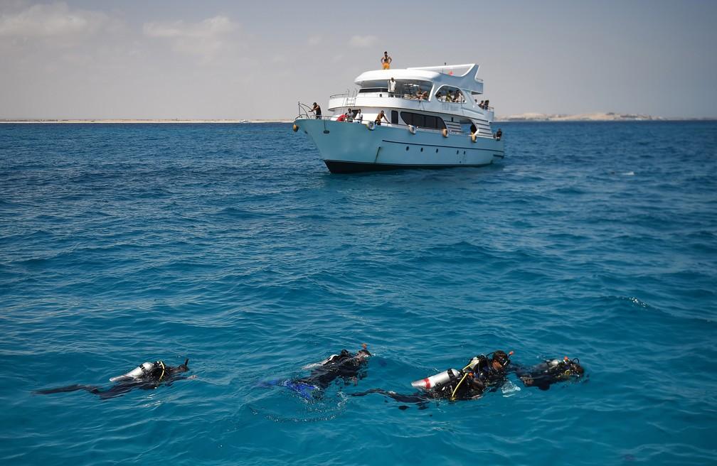 Mergulhadores constataram que parte dos corais de Hurghada, no Egito, já desapareceu — Foto: Mohamed El-Shahed/AFP