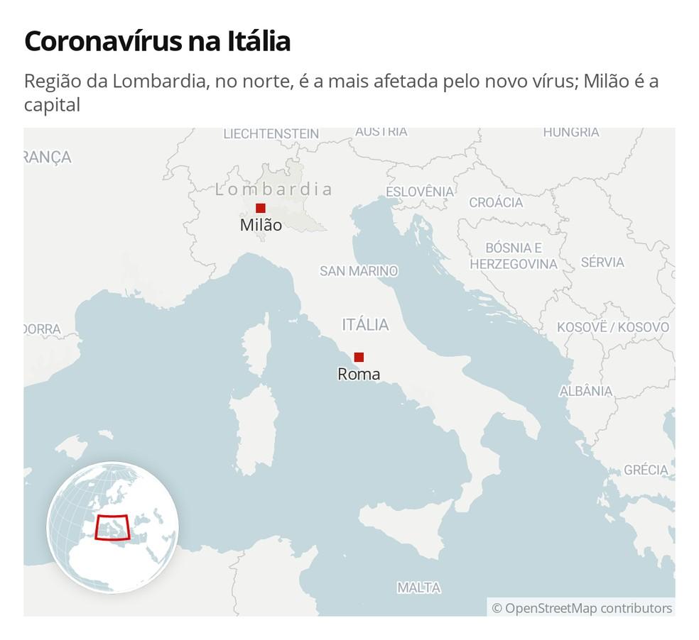 Coronavírus na Itália: Região da Lombardia, no norte, é a mais afetada pelo novo vírus; Milão é a capital — Foto: G1