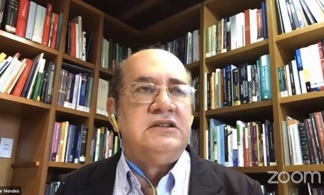 O ministro Gilmar Mendes na estreia da série de webnários organizados pelo Instituto de Garantias Penais