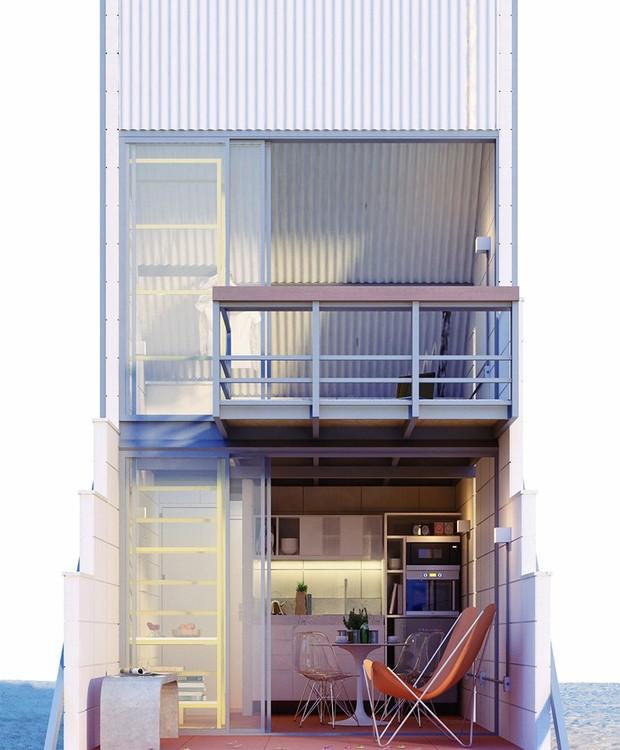 A fachada possui portas de correr que trazem a iluminação natural para o ambiente (Foto: Behance/ Reprodução)