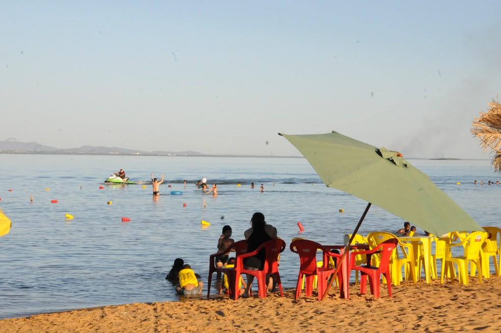 Praia de Luzimangues fica em Porto Nacional — Foto: Marcel de Paula/TV Anhanguera