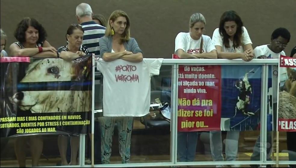 Ativistas acompanharam a primeira discussão do projeto na Câmara de Santos, SP. (Foto: Reprodução/TV Tribuna)