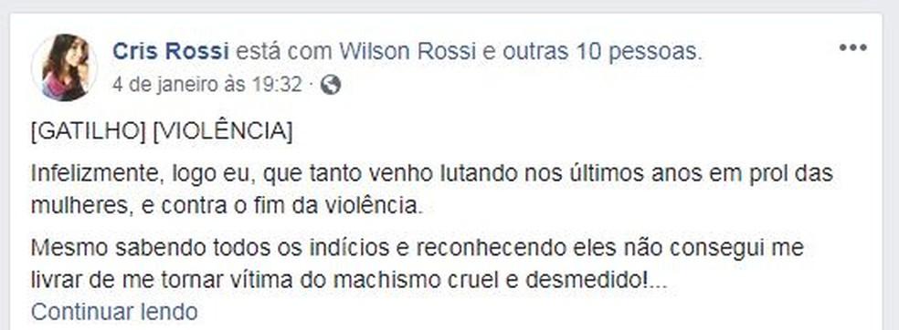 Ana Cristina postou nas redes sociais o caso de agressão — Foto: Reprodução/ NSC TV