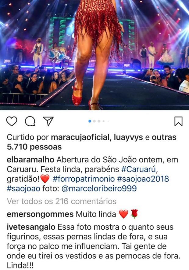 Ivete Sangalo elogia Elba Ramalho em rede social (Foto: Reprodução / Instagram)