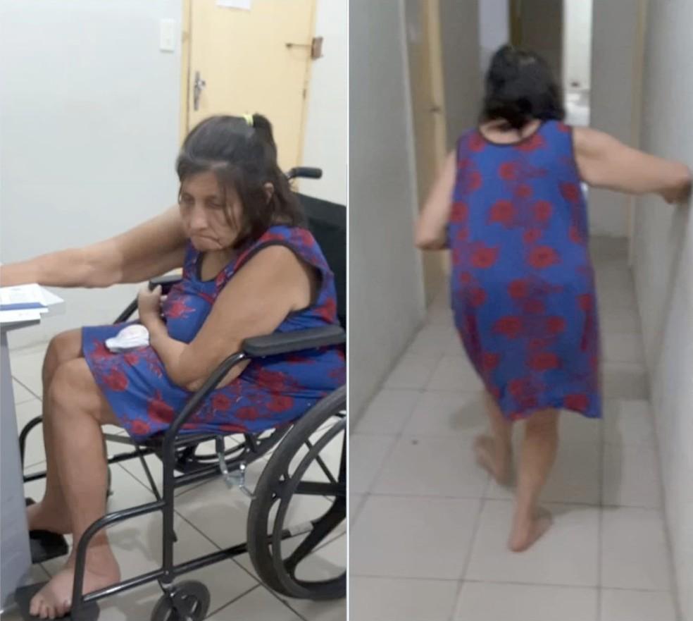 Idosa fingiu ser cadeirante e depois foi flagrada tentando fugir de delegacia — Foto: Divulgação/Polícia Civil