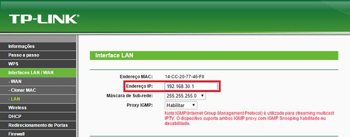 Altere o IP do roteador que será usado como repetidor (Foto: Reprodução/Gabriel Ribeiro)