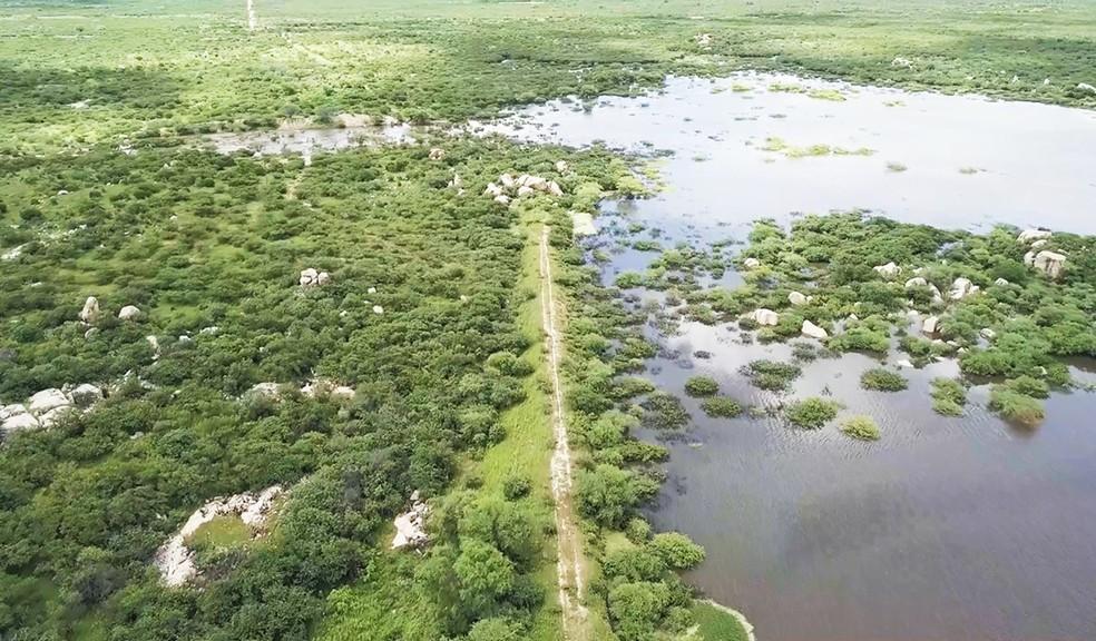 Açude São Miguel II, entre os município de Fernando Pedroza e Angicos — Foto: AG Drone