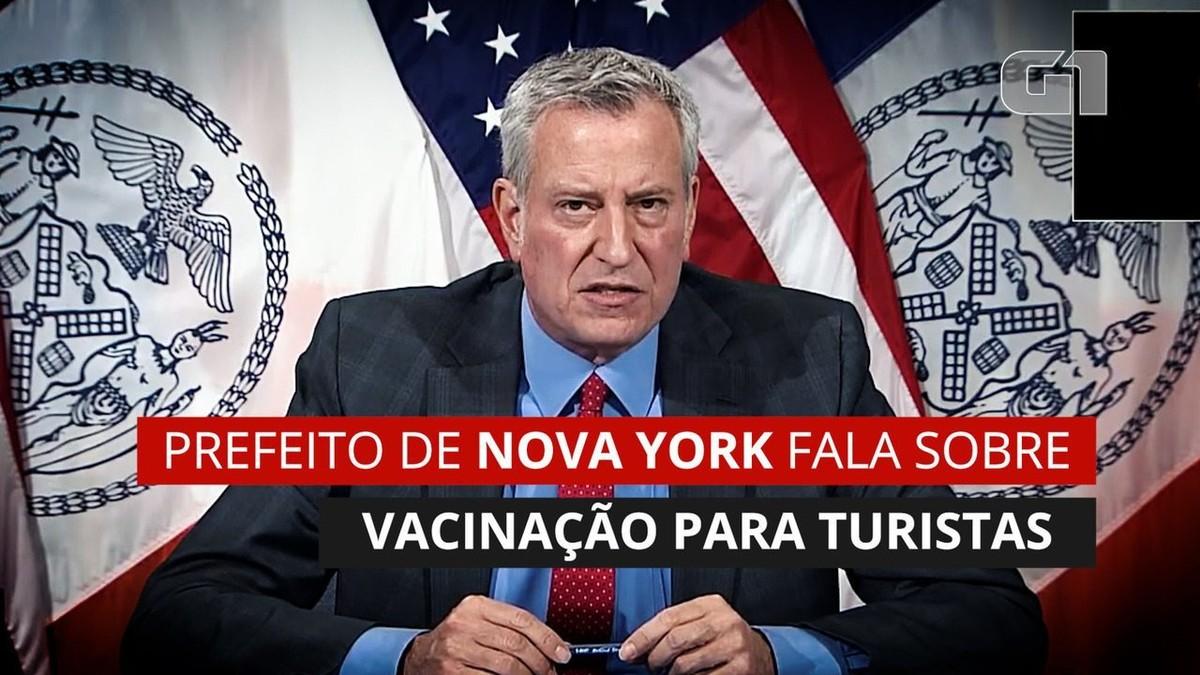 Prefeito de Nova York diz que vacinação de turistas está pronta para começar e que 'coração está com os brasileiros'