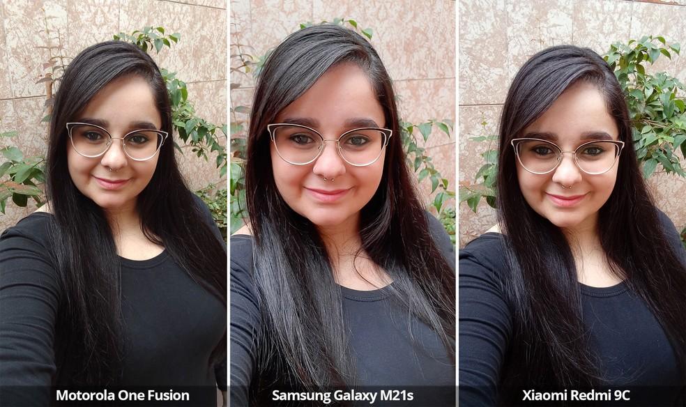 Comparativo das câmeras frontais do Motorola One Fusion, Samsung Galaxy M21s e Xiaomi Redmi 9C sob luz natural. Observe que o ângulo do Galaxy M21s é mais fechado e que o do Motorola One Fusion é mais aberto — Foto: Arquivo pessoal