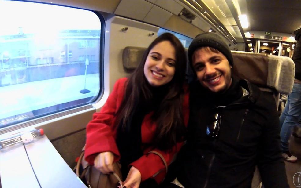 Cristiano Araújo e Allana Morais — Foto: Reprodução/TV Anhanguera