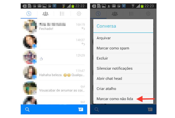 Marcando uma mensagem como não lida no Facebook Messenger para Android (Foto: Reprodução/Marvin Costa)