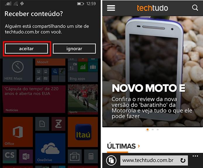 Windows Phone questionará se usuário deseja receber conteúdo do Android via NFC (Foto: Reprodução/Elson de Souza)