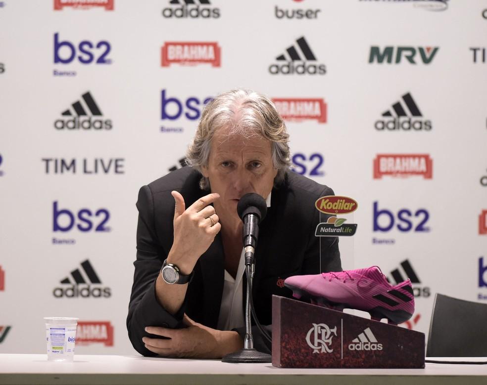 Jorge Jesus considerou o jogo contra o Palmeiras um dos melhores do Flamengo no ano — Foto: André Durão/GloboEsporte.com