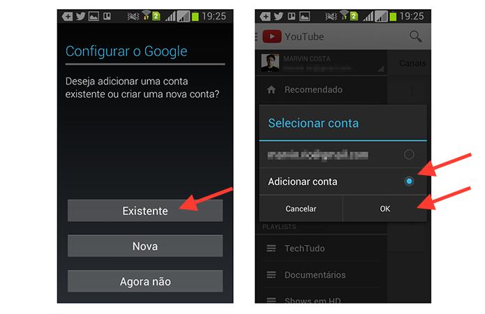 Iniciando o processo para iniciar uma nova conta do YouTube no Android (Foto: Reprodução/Marvin Costa)