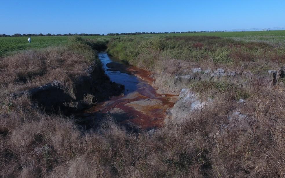Delegado diz que drenagem em área de nascentes do Rio Araguaia estão entre irregularidades, em Goiás (Foto: Divulgação/Dema)