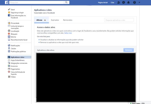 Nessa tela, seus aplicativos e sites integrados com o Facebook aparecerão na parte inferior direita (Foto: Reprodução)
