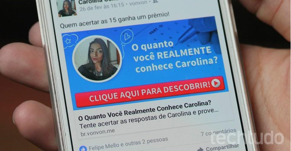 Não faça testes que pedem para acessar sua conta em qualquer rede social (Foto: Carolina Ochsendorf/TechTudo)