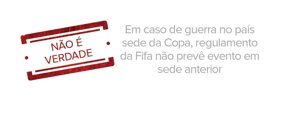 Em caso de guerra no país sede da Copa, regulamento da Fifa não prevê evento em sede anterior (Foto: Juliane Monteiro/G1)