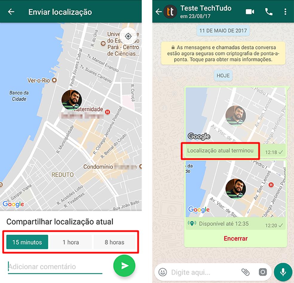 O novo envio de localização do WhatsApp anula o anterior (Foto: Reprodução/Paulo Alves)