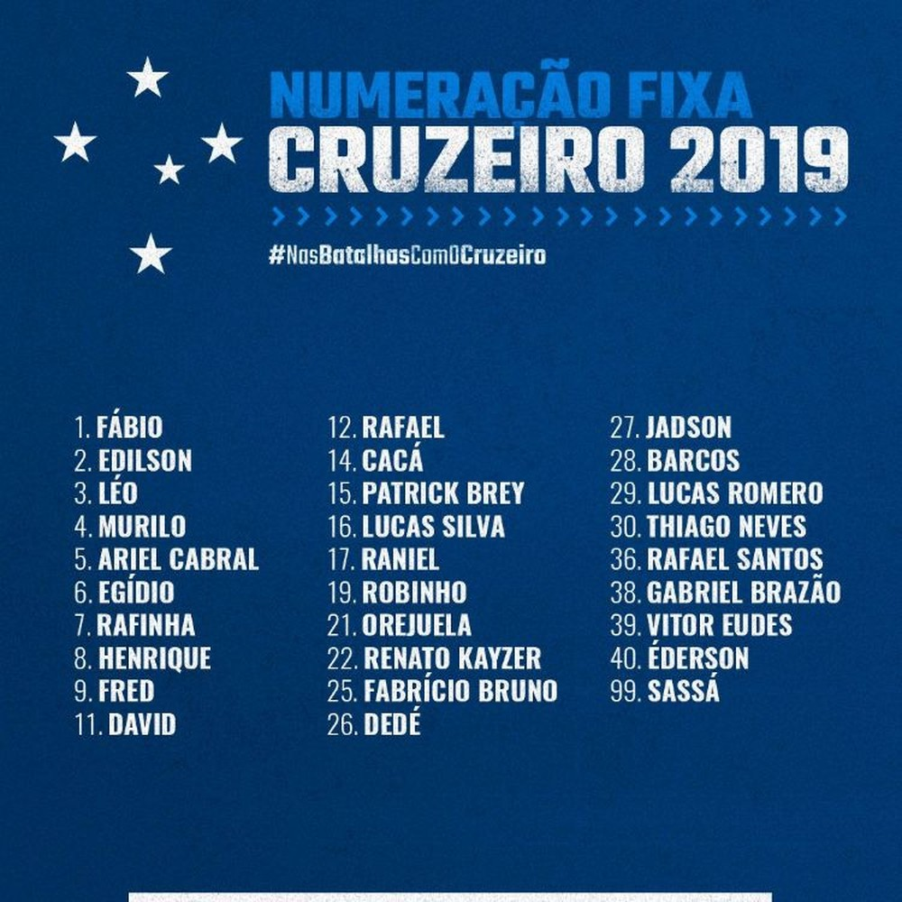 Com a camisa 10 vaga para Rodriguinho, Cruzeiro divulga numeração fixa para a temporada 2019