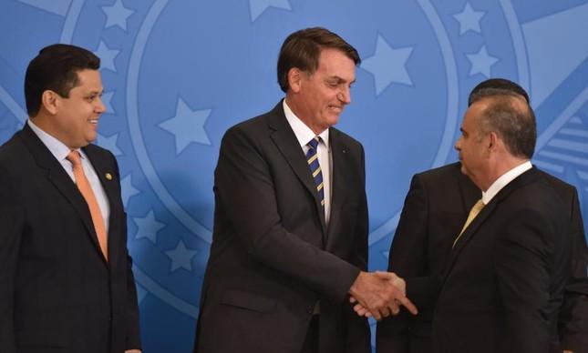 Bolsonaro, Rogério Marinho e Davi Alcolumbre