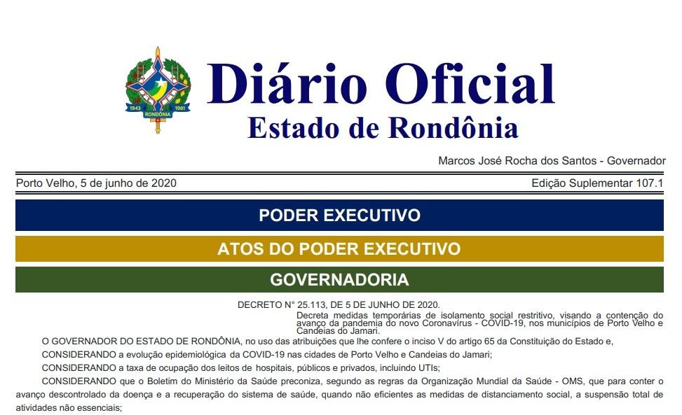 Governo decreta isolamento restritivo até 14 de junho em Porto Velho e Candeias do Jamari; veja o que abre