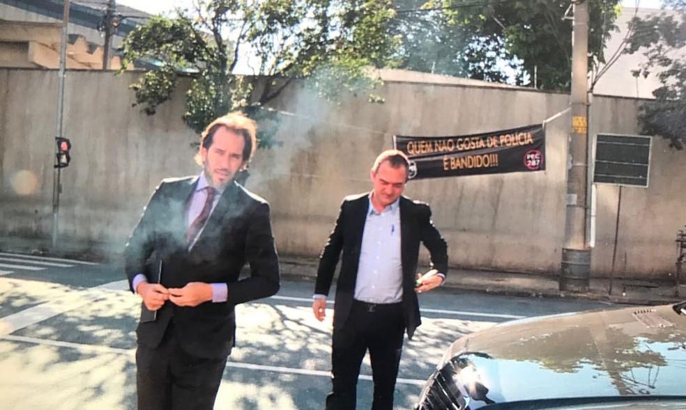 Joesley Batista, um dos donos da JBS, chega para depor na sede da PF em SP (Foto: Amós Alexandre/Globonews)