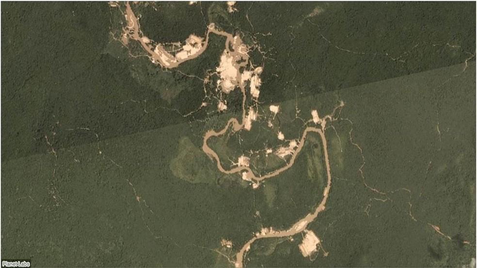 Garimpo na região do rio Fresco, na terra indígena Kayapó, em janeiro de 2019 — Foto: Planet Labs