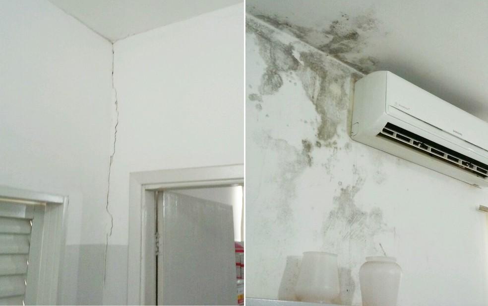 Marcas de umidade e rachaduras nas paredes da farmácia municipal em Terra Roxa, SP (Foto: TCE-SP/Divulgação)