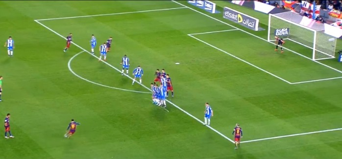 Messi gol falta Espanyol