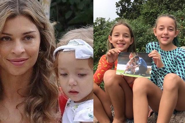 Cena de 'Flor do Caribe' e as gêmeas Vitória (de laranja) e Serena atualmente (Foto: TV Globo - Arquivo pessoal)