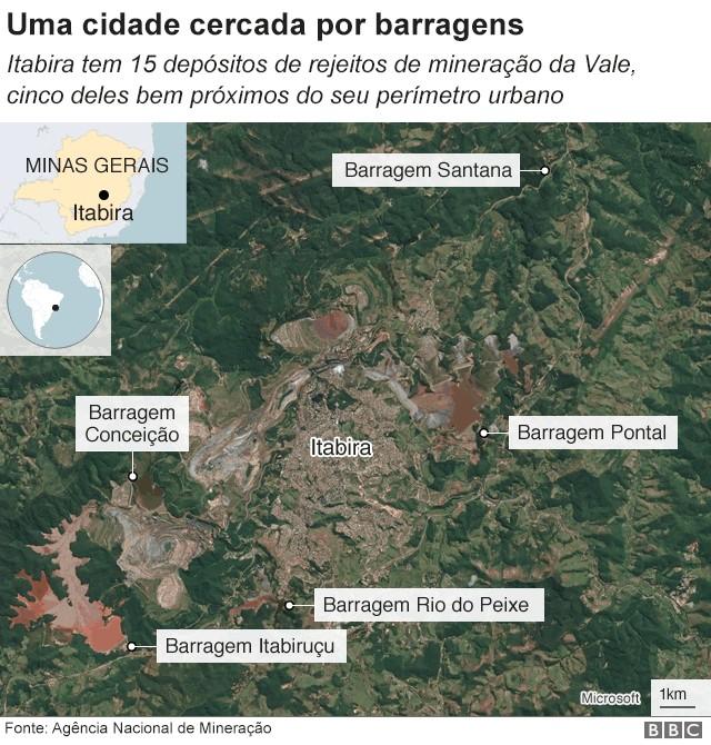 Mapa de Itabira (Foto: BBC)