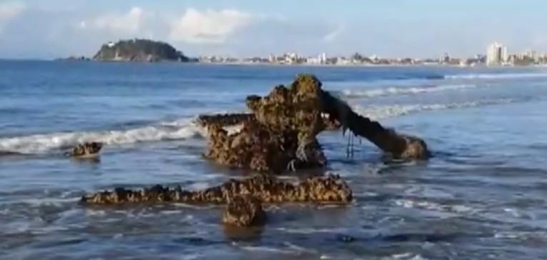 Com maré baixa, parte de navio encalhado há mais de 150 anos fica visível no litoral do Paraná