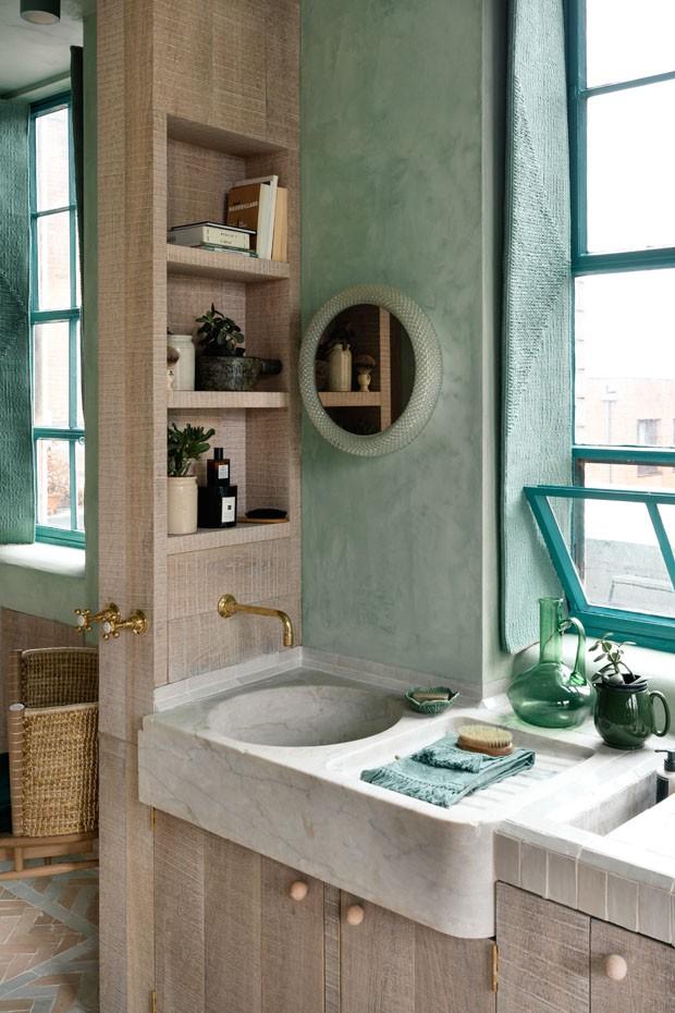 Décor do dia: paleta tranquilizante no banheiro