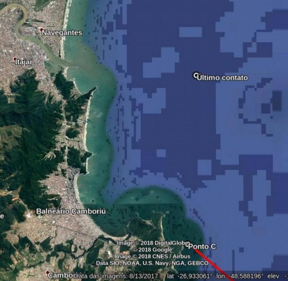 Local no Litoral de SC no qual piloto de avião desaparecido fez o último contato (Foto: Divulgação/Corpo de Bombeiros)