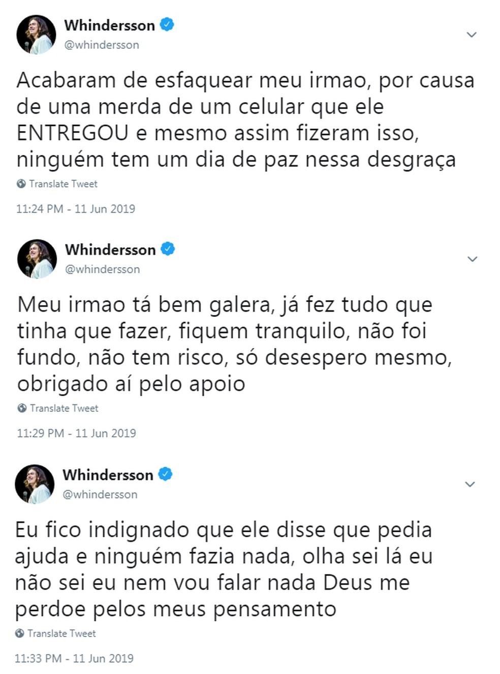 Whindersson relatou a situação em seu Twitter.  — Foto: Reprodução/Twitter